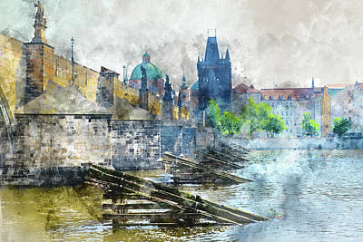 Czech Digital Art - Charles Bridge In Prague Czech Republic by Brandon Bourdages