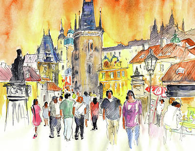 Praha Drawing - Charles Bridge In Prague In The Czech Republic by Miki De Goodaboom