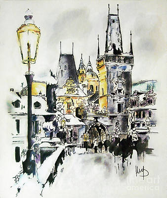 Charles Bridge In Winter Art Print by Melanie D