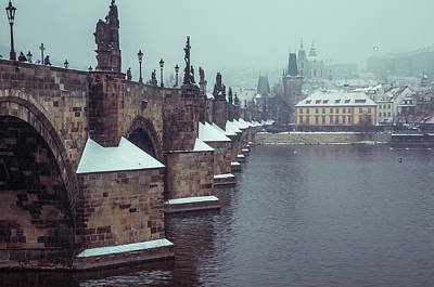 Photograph - Charles Bridge. March Snow by Jenny Rainbow