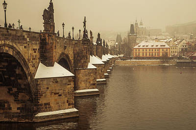 Photograph - Charles Bridge. March Snow. Vintage by Jenny Rainbow