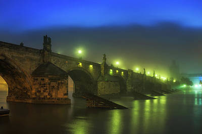Charles Bridge Night In Prague, Czech Republic Art Print
