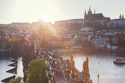 Photograph - Charles Bridge On Vltava River In Prague, Czech Republic At Sunset. Prague Castle by Michal Bednarek
