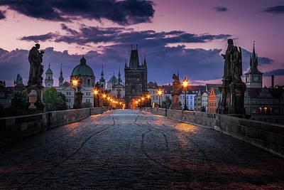 Charles Bridge, Prague, Czech Republic Art Print by Nico Trinkhaus