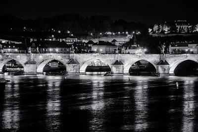 Praha Photograph - Charles Bridge Prague Night by Joan Carroll