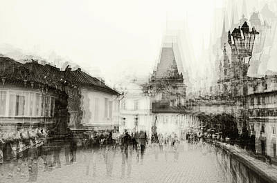 Photograph - Charles Bridge Promenade. Black And White. Impressionism by Jenny Rainbow