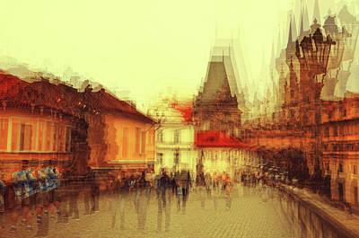 Photograph - Charles Bridge Promenade. Golden Prague. Impressionism by Jenny Rainbow