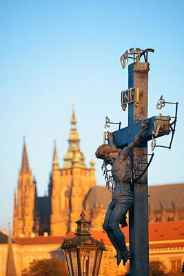Photograph - Charles Bridge Statue by Songquan Deng