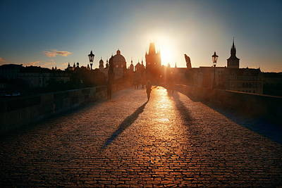 Photograph - Charles Bridge Sunrise by Songquan Deng