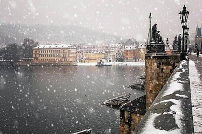 Photograph - Charles Bridge Under Snow. Wintry Prague by Jenny Rainbow