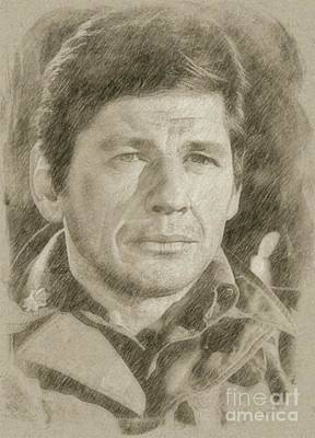 Classic Portrait Drawing - Charles Bronson, Actor by Frank Falcon