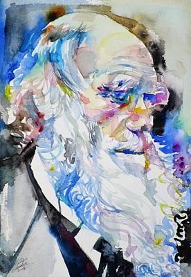 Painting - Charles Darwin - Watercolor Portrait.8 by Fabrizio Cassetta