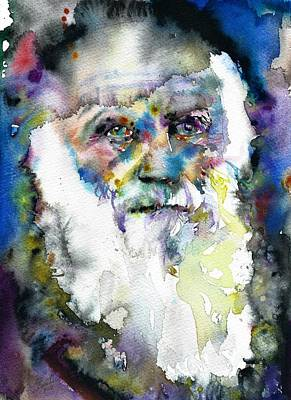 Painting - Charles Darwin - Watercolor Portrait.9 by Fabrizio Cassetta