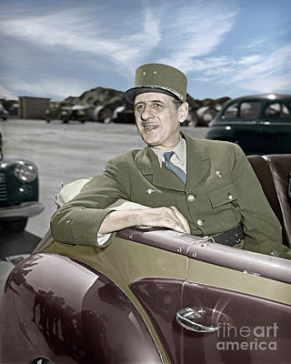 Photograph - Charles De Gaulle Of France In New York by Martin Konopacki Restoration