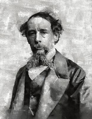 Dracula Painting - Charles Dickens Author by Mary Bassett
