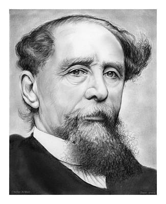 19th Century Drawing - Charles Dickens by Greg Joens