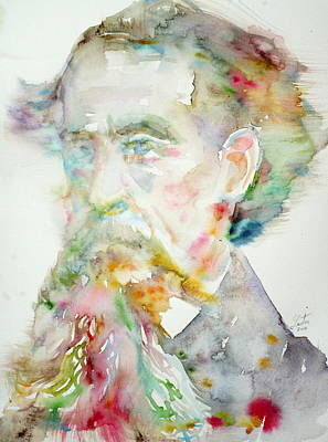 Charles Dickens - Watercolor Portrait.2 Original by Fabrizio Cassetta