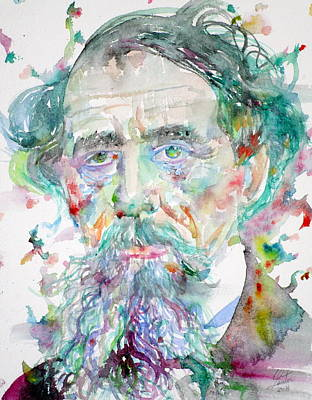 Charles Dickens - Watercolor Portrait.4 Original by Fabrizio Cassetta