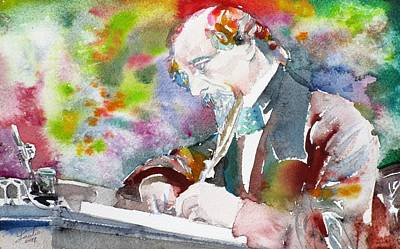 Painting - Charles Dickens - Watercolor Portrait.5 by Fabrizio Cassetta