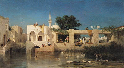 Turkish Painting - Charles Emile De Tournemine by Cafe in Adalia