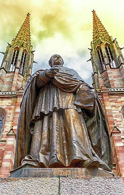 Photograph - Charles-emile Freppel Statue In Front Of Saints-pierre-et-paul-church In Obernai, France by Elenarts - Elena Duvernay photo