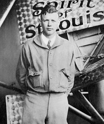 Airplane Photograph - Charles Lindbergh by American School