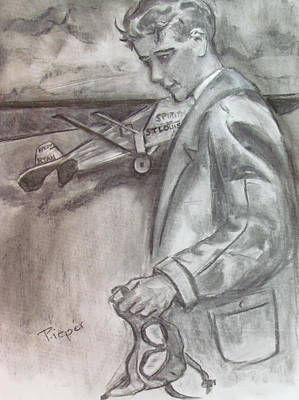 Famous Aviators Painting - Charles Lindbergh And The Spirit Of St. Louis At Schenectady by Betty Pieper