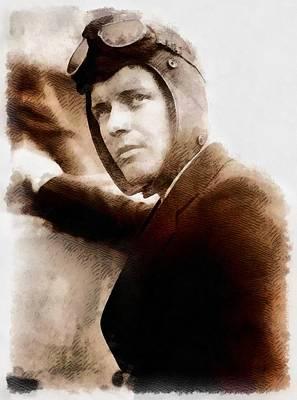 Einstein Painting - Charles Lindbergh, Aviator by John Springfield