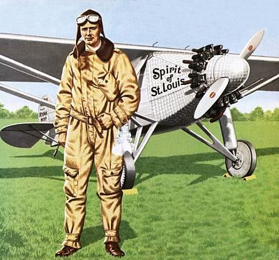 Aviator Drawing - Charles Lindbergh by John Keay