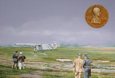 Monoplane Painting - Charles Lindbergh by Kenneth Young