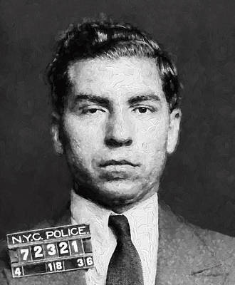 Charles Lucky Luciano  Mugshot Painterly Art Print by Daniel Hagerman