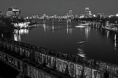 Photograph - Charles River At Dusk Dewolfe Boathouse Boston Skyline Black And White by Toby McGuire
