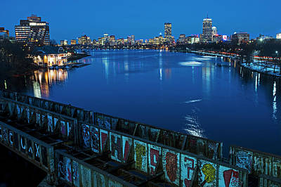 Photograph - Charles River At Dusk Dewolfe Boathouse Boston Skyline by Toby McGuire