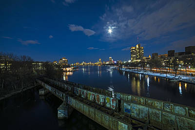 Photograph - Charles River At Dusk Dewolfe Boathouse Boston Skyline Wide Angle by Toby McGuire
