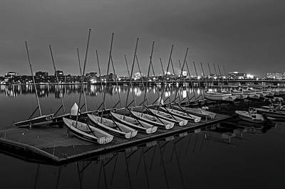 Photograph - Charles River Boats Clear Water Reflection Black And White by Toby McGuire