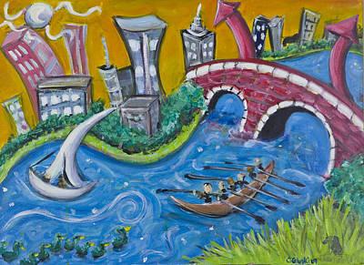 Red Sox Art Painting - Charles River, Boston by Jason Gluskin