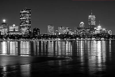 Photograph - Charles River Boston Ma Prudential Lit Up Not Done New England Patriots Black And White by Toby McGuire