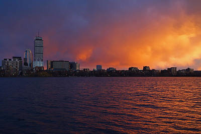 Photograph - Charles River Vibrant Sunset Boston Ma by Toby McGuire