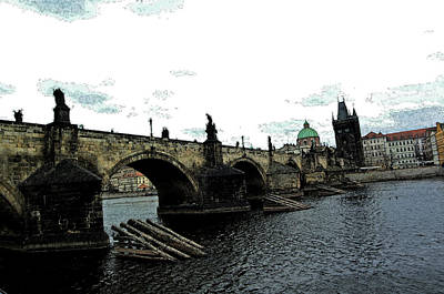 Vltava River Digital Art - Charles Street Bridge In Prague by Paul Pobiak