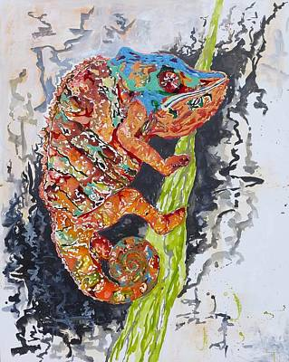Wall Art - Painting - Charles The Chameleon by Tessa Lang