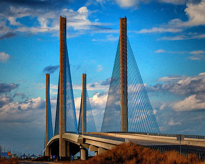 Photograph - Charles W Cullen Bridge South Approach by Bill Swartwout