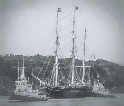 Buzzard Digital Art - Charles W. Morgan - Tugboats - Black And White - Painted by Black Brook Photography