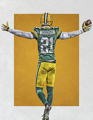 Game Painting - Charles Woodson Green Bay Packers Art 2 by Joe Hamilton