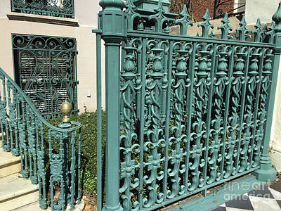 Photograph - Charleston Aqua Turquoise Rod Iron Gate John Rutledge House - Charleston Historical Architecture by Kathy Fornal
