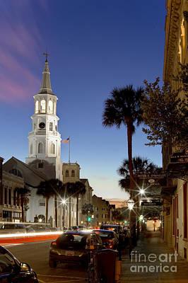Charleston At Night St Michaels Church Steeple South Carolina Original