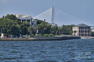 Cooper River Photograph - Charleston Battery Row And Bridge  by Dustin K Ryan