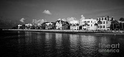 Charleston Battery Row Black And White Art Print
