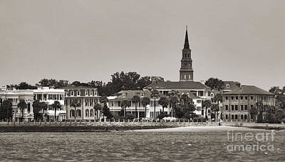Steeple Photograph - Charleston Battery South Carolina Sepia by Dustin K Ryan