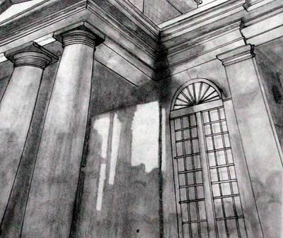 Church Pillars Drawing - Charleston Building Sketch by Jason Moore