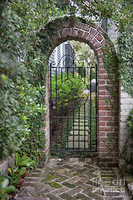 Photograph - Charleston Courtyard Brick Entrance  by Dale Powell